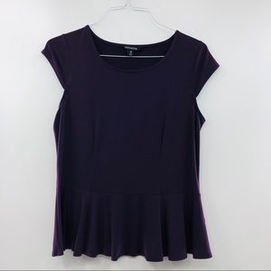 GEORGE Purple Stretch Cap Sleeve Scoop Neck Top